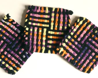 "Set of 3: Bright color, woven pot holders, hot pads - ""Sunset Glow"""