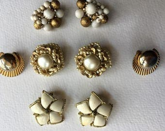 White Earring Lot Vintage Jewelry Destash Cluster Clip on Pearl Beads Gold Wear Repurpose Recycle Repair 1950's