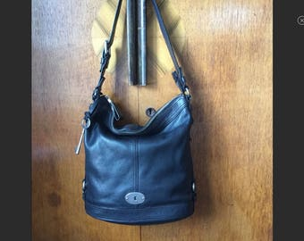 FOSSIL Black Bucket Bag, LARGE Slouch Hobo, Excellent Used Condition
