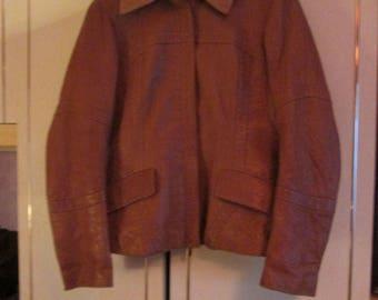 Hugo Boss crock effect leather jacket
