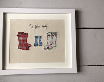 Personalised machine embroidery family or couple wellies outside a tent. Bespoke gift. Present for moving house, new baby, birthday, wedding