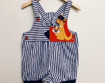 Vintage Australiana Kangroo Stripe Overalls Dungarees