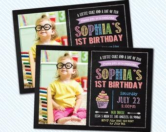 Digital Printable Cupcake Birthday Invitation. Girl Birthday Party. sprinkle birthday invite