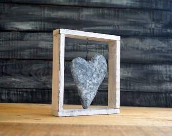 Framed Heart, Black and White Art, Love Heart Decor, Heart Wall Art, Paper Mache Heart, Paper Sculpture, Valentine's Day Gift,