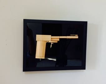 Golden Gun 007 Mini Sniper Rifle Valentines Gift for Husband Him James Bond Painted Kit Gold Pen Cigarette Case Lighter