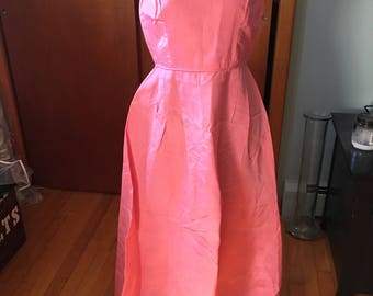 Vintage 1960's Handmade Rose Pink Gown size S