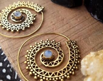 Coachella• brass spiral earrings