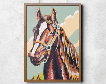 Paint by Number Print : Multicolor Horse