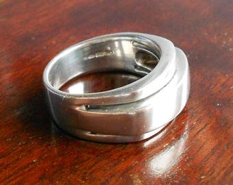 Vintage Modernist Style Silver Ring, Hallmarked Chunky 925 Ring, Early 1990s
