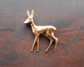Vintage Art Deco Deer Brooch, Brass Bambi Brooch, 1930s or 1940s Style Like Disney