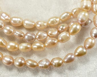 x30pc Natural Cultured freshwater pearls pink peach in potatoe shape for bracelet necklace (#AC561)
