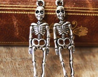 Skeleton earrings, Halloween jewelry, creepy cute earrings