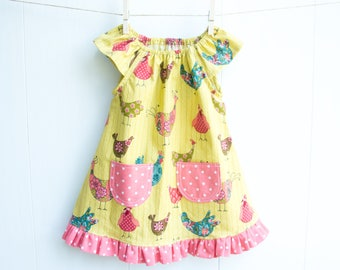 Chicken Baby Dress-Cheeky Chickens Baby Girl Dress-Ruffled Dress-Provencial Chickens-Flutter Sleeve Dress with Pockets-Chickens & Polka Dots