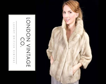 vintage 1950's/1960's grey/fawn/cream mink real fur coat/jacket with cropped sleeves.small size.Winter wedding/vintage bride/vintage wedding