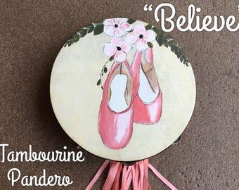 Hand painted tambourine pandero ballet, ballerina danza worship praise