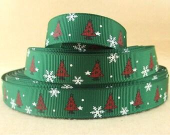 "Christmas Trees Grosgrain 5/8"" Printed Ribbon, Christmas Ribbon"