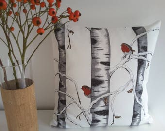 """Cushion cover """" Birch Wood in Winter"""""""