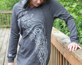 Mermaid Hoodie Dress-HandPrinted-Alaska made
