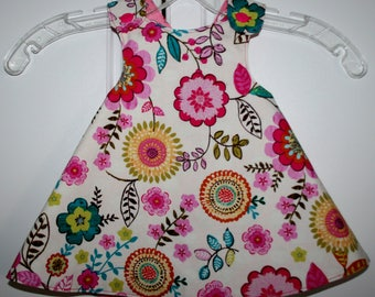 6 months, Light Beige Flower Reversible Sundress with Cat Print.