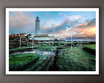 Seascape lighthouse photography print, St marys lighthouse image, golden hour sunset shot, sea green island
