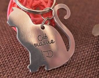 Cat tag, personalized, cat id tag, custom cat collar tag, cat head tag, metal pet tag, kitty tags, cat name tag, keychain