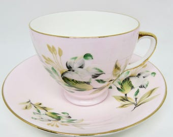 Old Royal Bone China Footed Pink Teacup and Saucer with Floral Pattern Gold Trim