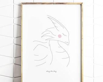 dragon art, dragon print, dragon decor, dragon line art, dragon nursery, dragon kids room, dragon illustration, dragon download