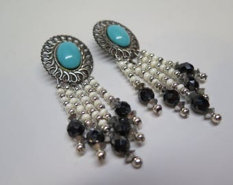 Western Retro Vintage 1960s/1970s Faux Turquoise Dangle Earrings Beads Pierced Converted SALE