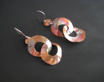 Patinated copper earrings, long copper earrings, mixed metal earrings