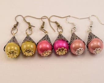 Fancy earrings gold, light pink or hot pink and brass caps