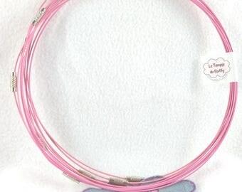 11 supports Choker metal - diameter 14 cm - light pink