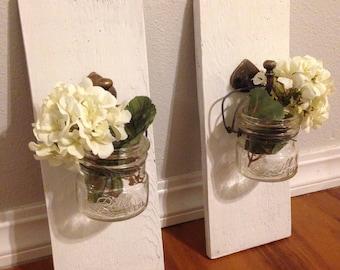Set of 2 White mason jar sconces