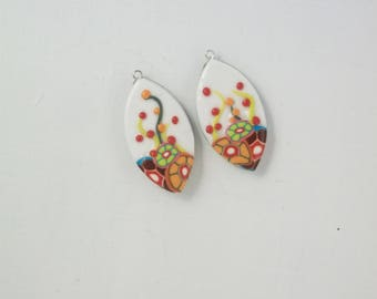 Set of two Calissons garden polymer clay pendants