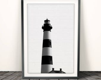Lighthouse print,  Wall Art Print, Coastal print, Nautical, Beach Home Decor, Printable Poster, sea Digital Download, Black and White Photo