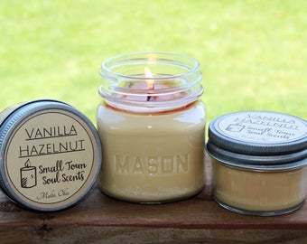 Vanilla Hazelnut 8 oz square mason jar soy candle
