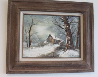 Roger Brown Snow Scene Landscape with Barn Painting