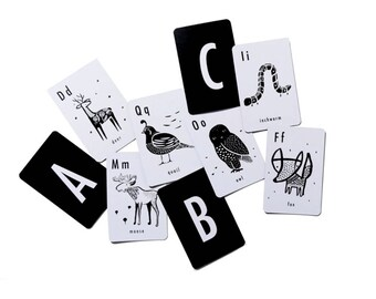 Alphabet Art Cards /// Black & White Animal