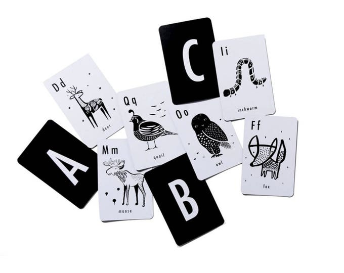 Alphabet Art Cards /// Black & White Animal