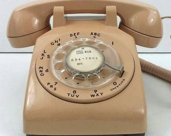 Vintage Western Electric Telec Beige Desk Rotary Telephone, 1983, Untested, As-Is
