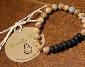 Venus Jasper & Lava Stone Bracelet; Lava Stone Diffuser Bracelet; Aromatherapy Diffuser Lava Stone Bracelet; Essential Oil Diffuser Bracelet