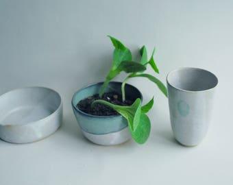 Handmade ceramic planter, succulent/ cactus planter, ceramic pot, white blue/green stoneware planter, housewarming gift, pottery plant pot