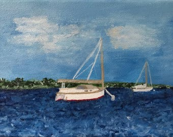 Sail Boats In The Ocean Acrylic Painting