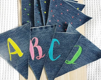 Alphabet Bunting Banner / Denim bunting / ABC bunting / hand made wall decor / Baby Nursery wall hanging flag / brush lettered by hand