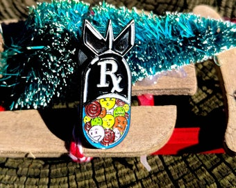 Pill Bomb   Rx Yo'Self   Pill Pin   Punk Enamel Pin   backpack pin   gift for him   gift for her   sad rebellion anxiety   gift for women
