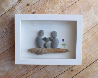 New dog family of 3 sea glass and pebble art picture / Rescue dog / Pet loss /  Pet memorial / Sea glass art / sea glass picture / Rock art