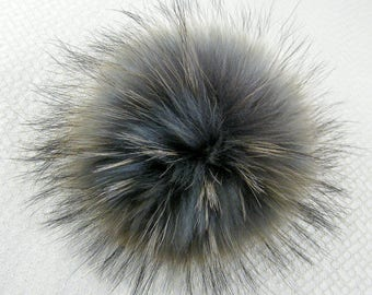 Extra Large - Real Fur Pom Pom - Grey with Blue Undertone - 15 Centimeter - 5 to 6 Inches -  Button Snap - XL - Hats - Easily removable