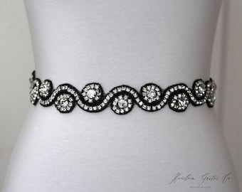 Black Rhinestone Dress Sash - The Perfect Elegent Wedding Dress Belt