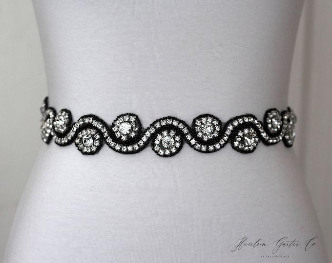Black Rhinestone Dress Sash - The Perfect Elegent Wedding Dress Belt