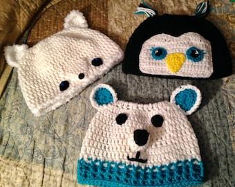 Messy Bun/Ponytail Hats - Arctic Animals