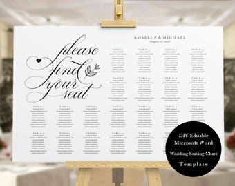 Seating Chart, Instant Download, Printable Seating Chart, Find Your Seat, Editable Template, Printable Seating Chart Poster, MSW170